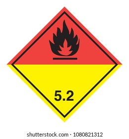 Ghs hazardous organic peroxides transport icon. Isolated vector illustration. Warning symbol hazard icons Ghs safety pictograms.