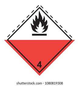 Ghs hazardous spontaneous combustion transport icon. Isolated vector illustration. Warning symbol hazard icons Ghs safety pictograms.