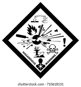 GHS Physical hazards sign with all the warnings together. Explosive Flammable Compressed Gas or Toxic Oxidizing Corrosive Harmful Health and Environmental hazard.