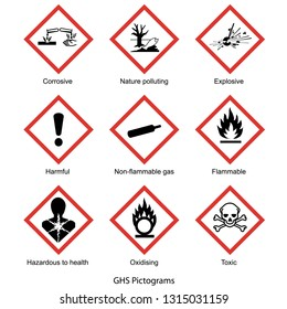 GHS pictogram collection, vector isolated on white background