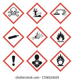 GHS pictogram hazard sign set. Isolated on white background. Dangerous, hazard symbol icon collection. Vector illustration image.