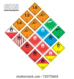 ghs warning icon Transportation and hazardous sign. GHS Physical hazards signs. Explosive, Flammable Oxidizing Compressed Gas Corrosive toxic Harmful Health hazard Corrosive Environmental hazard.
