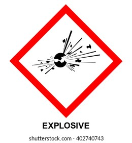 GHS01 hazard pictogram EXPLOSIVE , hazard warning sign EXPLOSIVE , isolated vector illustration