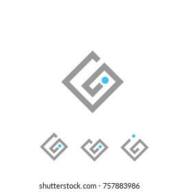 gi logo square vector flat template design