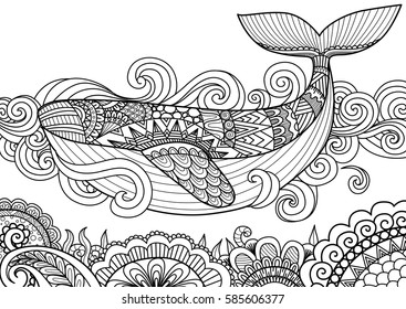 Giant beautiful whale swimming in the ocean over beautiful coral, design for coloring book page,T-Shirt design, pillow cover design and other design element