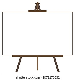 A giant blank canvas on an easel isolated on a white background