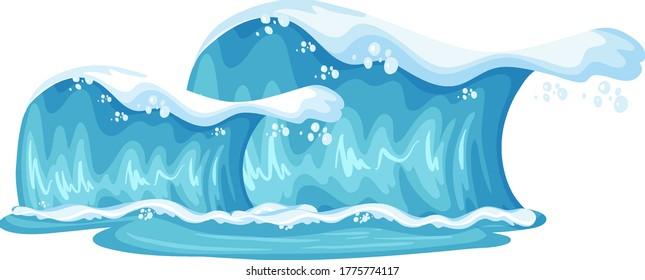 Giant blue ocean waves cartoon isolated illustration