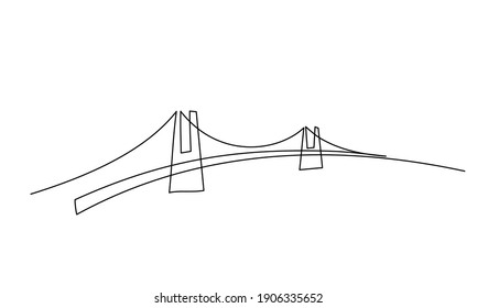 Giant bridge over river. Continuous one line drawing design. Simple modern minimaistic style vector illustration.