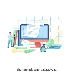 Giant computer, tiny people or taxpayers sitting beside and filling in tax form, money bills and coins. Personal taxation, income or revenue calculation. Modern vector illustration in flat style.