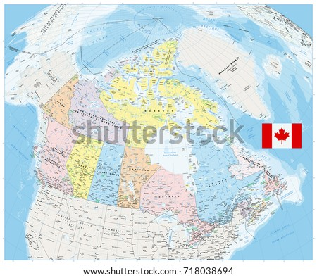 Map Of Canada With All Cities.Giant Detailed Political Map Canada Cities Stock Vector Royalty