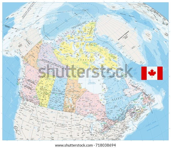 A Map Of Canada With Cities.Giant Detailed Political Map Canada Cities Stock Vector Royalty