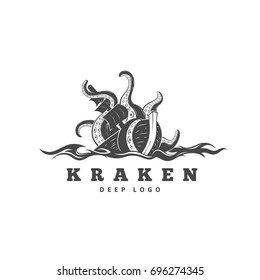 Giant evil kraken absorbs commercial sailing ship, silhouette octopus sea monster with tentacles for logo and t-shirt print or seafood mascot label, ocean life concept, vector illustration