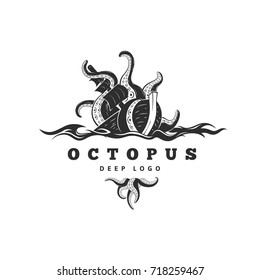Giant evil kraken absorbs commercial sailing ship, silhouette octopus sea monster with tentacles for logo and t-shirt print or seafood mascot label, simple detailed black vector illustration