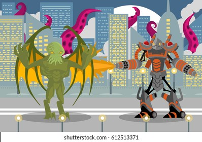 giant flamethrower robot fighting a cthultu winger reptile tentacles monster in city
