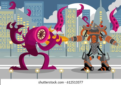 giant flamethrower robot fighting a leech tentacles monster in city