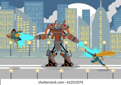 giant flamethrower robot fighting two superhero man and girl