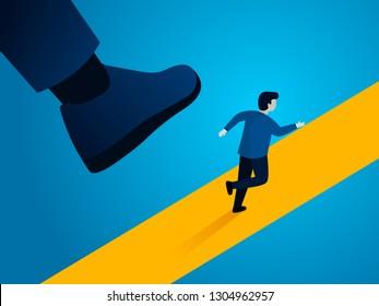 Giant foot trampling businessman, business concept vector