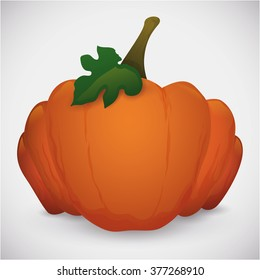 Giant fresh pumpkin with leaf and stem from the farm isolated in white background.