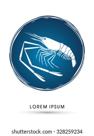 Giant freshwater prawn, shrimp, designed on  grunge cycle background graphic vector.