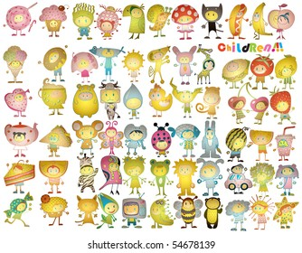 Giant Funny Costumed 3d Children Set (vector)
