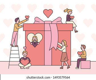 Giant gift box and little people around holding hearts. flat design style minimal vector illustration.