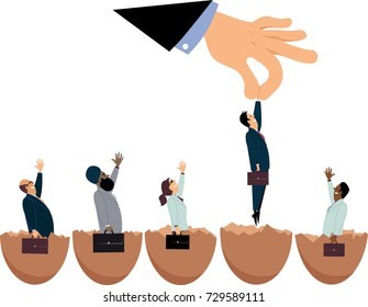 Giant hand picking up one of new entrepreneurs hatching out of eggs, EPS 8 vector illustration