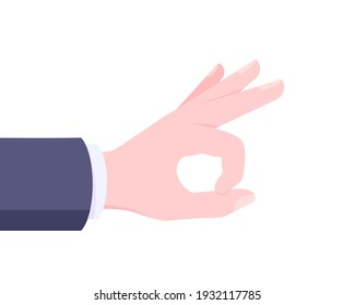Giant hand ready to flick business concept vector illustration isolated on white background. Hand gesture flick with human hand in the suit.