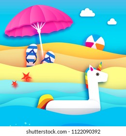 Giant inflatable Fantasy Unisorn in paper cut style. Beach Parasol - umbrella. Origami Pool float toy on the sunny beach,sand and crystal clear blue sea water. Beachball, flipflop. Holidays.