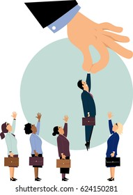 Giant managerial hand picking a man from a row of potential candidates for a job, ignoring women, EPS 8 vector illustration