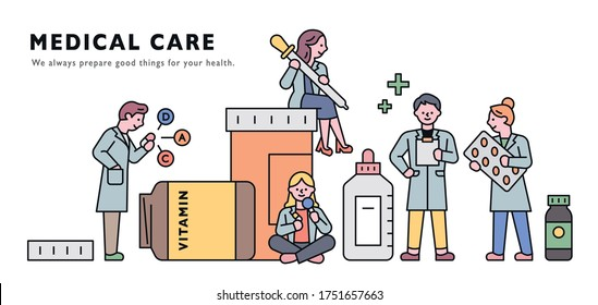 Giant medicine bottles and doctor characters around them. Horizontal banner concept. flat design style minimal vector illustration.