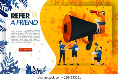 giant megaphone for online promotion and referral programs. refer to a friend website, people who shake hands and make a deal, concept vector ilustration. can use for, page, mobile app, poster, flayer
