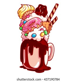 Giant milkshake with muffin, donut, chocolate and candies. Monstershake in cocktail jar. Vector cartoon illustration isolated on a white background.