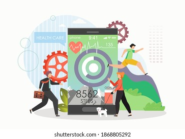Giant mobile phone with step counter app, male and female characters tracking daily steps, walking distance, flat vector illustration. Pedometer, step tracker and health care app.