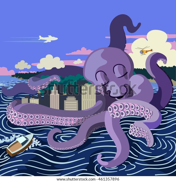 A giant octopus hugging a city creates turbulent waters as a jet airliners flies by, a helicopter looks on and a boat rashes against the waves.