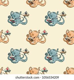 Giant octupus seamless pattern. Original design for print or digital media.