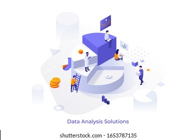 Giant pie diagram and group of analysts working on laptops and analyzing statistical information. Big data analysis solutions, mathematics or statistics research. Modern isometric vector illustration.