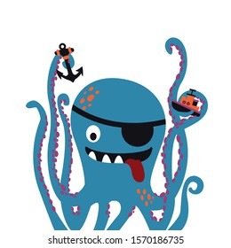 Giant pirate octopus cartoon vector illustration on white background