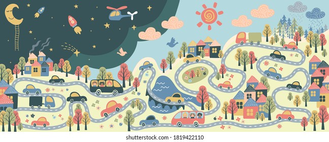giant poster for kids with busy city life, day and night, town and forest, sun and rain, cars, school buses, roads, bridge, trees, flowers and houses, helicopter - flat hand drawn vector illustration