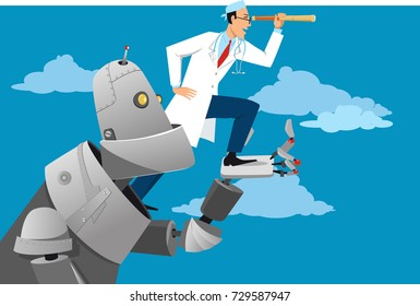 Giant robot helping a doctor looking forward, EPS 8 vector illustration