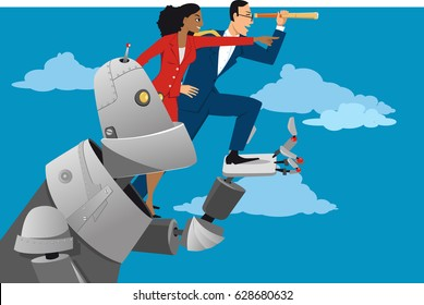 Giant robot holding business people, helping them to look further ahead, EPS 8 vector illustration