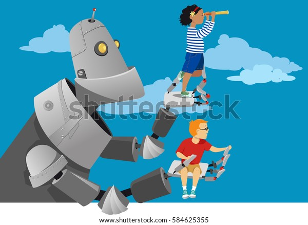 Giant robot holding little kids to the sky, helping them to look further ahead, EPS 8 vector illustration, no transparencies