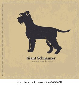 Giant Schnauzerdog standing in profile stylized silhouette. All objects are conveniently grouped on different layers