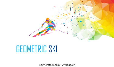 Giant Slalom Ski Racer silhouette. Color illustration