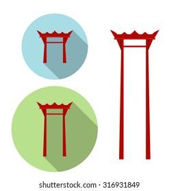 Giant Swing, torii gate icon, landmark buildings in asia