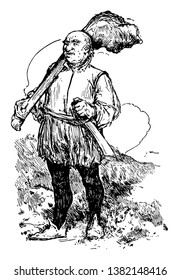 Giant, this scene shows a giant man carrying something on shoulder and sword in one hand, vintage line drawing or engraving illustration