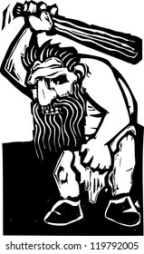 Giant troll with a huge club rendered in a woodcut style.