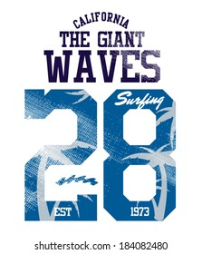 The Giant Waves surfer vector apparel . artwork for t-shirt print