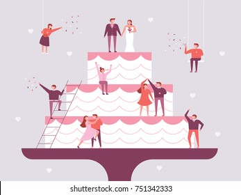 Giant wedding cake and small people character poster concept vector illustration flat design