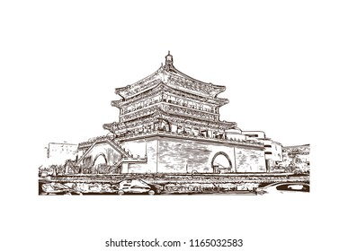 Giant Wild Goose Pagoda or Big Wild Goose Pagoda, is a Buddhist pagoda located in southern Xi'an, Shaanxi province, China. Hand drawn sketch illustration in vector.