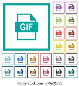 GIF file format flat color icons with quadrant frames on white background